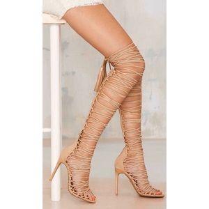 Jefferey Campbell Advent beige suede wrap heels